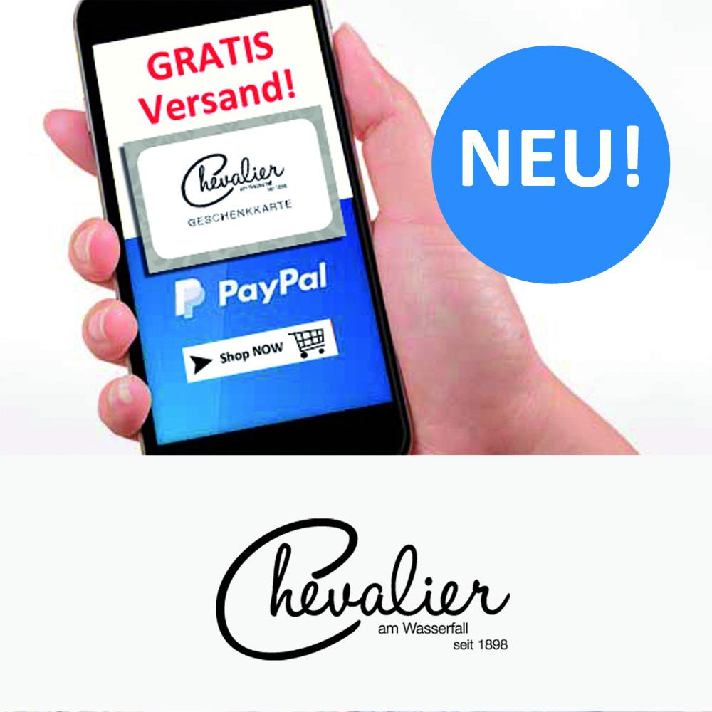 Geschenkgutscheine über Ihren Wunschbetrag online über info@chevalier1898.de bestellen und versandkostenfrei zugesendet bekommen. Zahlung per PayPal.